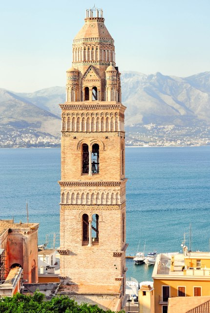 The famous bell tower of the Cathedral in Gaeta