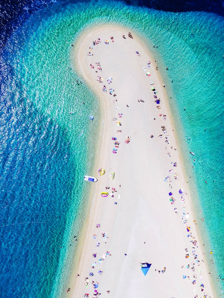 Aerial view of Zlatni Rat beach on the island of Brac