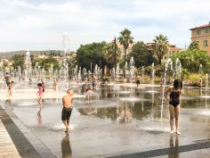 What's better than the beach if you're a kid? A fountain promenade