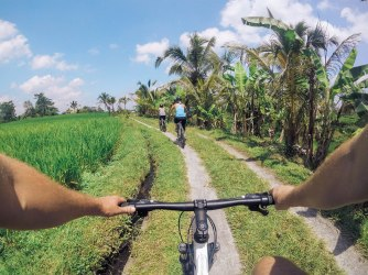 Biking through the rice fields