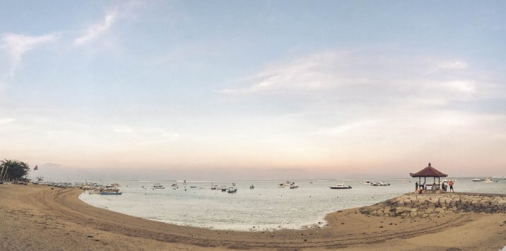 Sanur beach at sunset